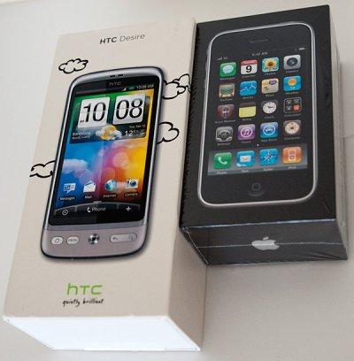 DesireとiPhoneのパッケージ比較
